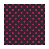 Pattern or Texture with Neon Pink Polka Dots on Black Background Posters by  IngaLinder