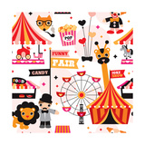 Kids Circus Fun Fair Illustration Fabric Background Pattern Prints by Maaike Boot