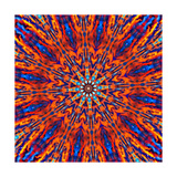 Computer Generated Tie Dye Kaleidoscope Created from a Photograph of a Sunset Poster by  Karimala