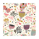 Texture with Flowers, Birds and Butterflies Prints by  smilewithjul