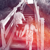 Two Kids Going Up Stairs at Beach Posters by  melking