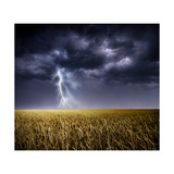 Dark Stormy Clouds over a Field Premium Giclee Print by  ongap