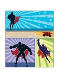 Superhero Banners Prints by  Malchev