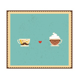 Hypster Coffee and Tea Cups Premium Giclee Print by  LipMic