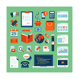 Flat Design Icons Set of Business Working Elements Prints by  PureSolution