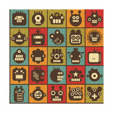Robot and Monsters Cell Background Premium Giclee Print by  panova