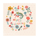 Cute Floral Birthday Card with Amazing Chameleon in Flowers Posters by  smilewithjul