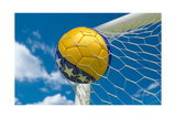 Bosnia Flag and Soccer Ball in Goal Net Poster by  BarbraFord