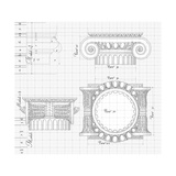 "Blueprint - Hand Draw Sketch Ionic Architectural Order Based ""The Five Orders of Architecture"" Prints by  -Vladimir-"