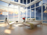 A Loft Apartment Interior with Seascape View Posters by  PlusONE