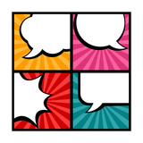 Set of Speech Bubbles in Pop Art Style Poster by  incomible