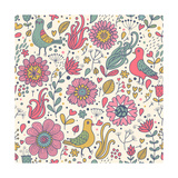 Pigeons in Flowers Premium Giclee Print by  smilewithjul