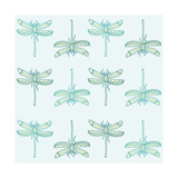 Teal Pattern with Dragonflies Prints by  ameu