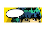 Pensive Girl Comic Books Style Drawing, Blank Speech Bubble Posters by  lavitrei
