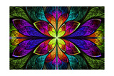 Multicolor Beautiful Fractal Pattern Poster by  velirina
