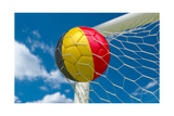 Belgium Flag and Soccer Ball in Goal Net Prints by  BarbraFord