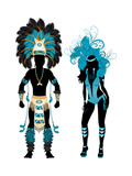 Carnival Blue Couple Poster by  BasheeraDesigns