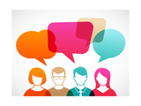 People Icons with Colorful Dialog Speech Bubbles Poster by  Marish