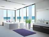 A Light Bathroom Interior with Jacuzzi Poster by  PlusONE