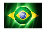 Soccer Football Ball with Brazil Flag Reproduction giclée Premium par  daboost