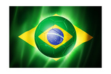 Soccer Football Ball with Brazil Flag Poster by  daboost