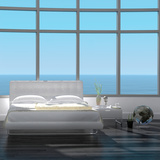 Modern White Bedroom Interior with Seascape View Photographic Print by  PlusONE