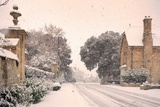 English Village with Snow Prints by Andrew Roland