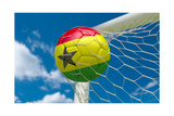 Ghana Flag and Soccer Ball in Goal Net Posters by  BarbraFord
