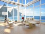 A Loft Apartment Interior with Seascape View Prints by  PlusONE
