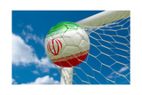 Iran Flag and Soccer Ball in Goal Net Prints by  BarbraFord
