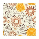 Retro Floral Pattern Posters by  Danussa