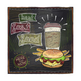 Best Fast Food Chalkboard Design with Hamburger, French Fries and Coffee Art by  Selenka