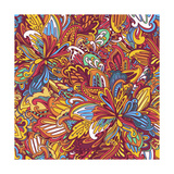 Ornamental Floral Pattern: Rainbow Floral Pattern Prints by  shumo4ka