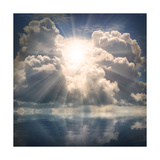 The Sun on Dramatic Sky over Sea Premium Giclee Print by  Kletr