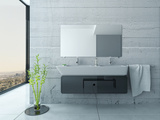 White Bathroom Interior with Concrete Walls and Tiled Floor Photographic Print by  PlusONE