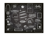 Chalkboard Ads, Including Frames, Banners, Swirls and Advertisements for Restaurant, Coffee Shop Prints by  LanaN.