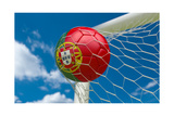 Portugal Flag and Soccer Ball in Goal Net Posters by  BarbraFord