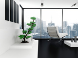 A Modern Living Room with Cityscape View Prints by  PlusONE