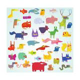 Funny Grunge Doodled Animals Collection in Pop-Art Colors Plakater af vook