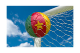 Cameroon Flag and Soccer Ball in Goal Net Prints by  BarbraFord