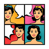 Illustration of Retro Girls in Pop Art Style Posters by  incomible
