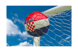 Croatia Flag and Soccer Ball in Goal Net Print by  BarbraFord