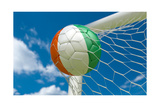 Ivory Coast Flag and Soccer Ball in Goal Net Posters by  BarbraFord