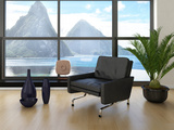 Modern Loft Interior with Black Chair Against Huge Window with Seascape View Prints by  PlusONE