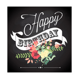 Birthday Card in Chalkboard Calligraphy Style with Cute Flowers Print by Alisa Foytik