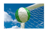 Nigeria Flag and Soccer Ball in Goal Net Art by  BarbraFord