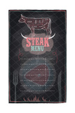 Steak Menu Chalkboard Design with Cow Steak Diagram Poster by  Selenka