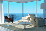 A Sunny Living Room Interior Print by  PlusONE