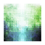 Abstract Green and Blue Triangle Pattern Posters by  ilyianne