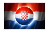 Soccer Football Ball with Croatia Flag Reproduction giclée Premium par  daboost